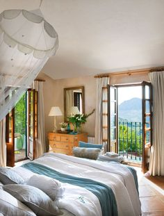 Beautiful bedroom interior design ideas and decor ~ House of Turquoise: room with a view