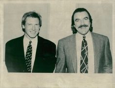 Vintage photo of Tom Selleck together with Harrison Ford. Is Selleck sporting a mullet??