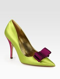 Kate Spade New York  Latrice Colorblock Satin Point Toe Pumps  New Fashionable Green