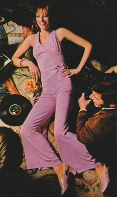 Slink into center-stage when you party in this halter-neck jumpsuit.' (1969) #Celanese