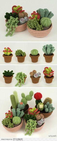 Crochet / decoración / Flores - cactus en Stylowi.pl