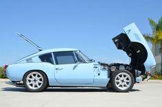 his 1969 Triumph GT6 was recently rebuilt by the seller who gives a very detailed report of his thorough and impressive build of the car. It started green, but we love this pale blue color, the same as on the TR4 we featured earlier this week. Deleted bumpers and an adjustable GAZ suspension dropped down over 15″ VTO wheels has the thing looking just about perfect. Find ithere on eBayin San Diego, California.