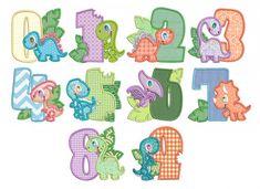 Dino Numbers Applique Machine Embroidery Designs By JuJu Embroidery Store, Embroidery Alphabet, Machine Embroidery Applique, Embroidery Fonts, Cute Fonts Alphabet, Alphabet Design, Die Dinos Baby, Baby Dinosaurs, Dinosaur Birthday