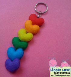 Felt Hearts/ RAINBOW Hearts  Phone charm key by kawaiifeltcrafts, $6.50