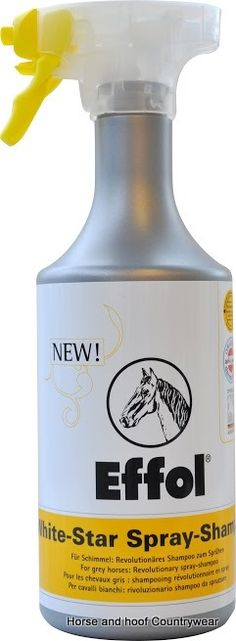 Effol White Star Spray Shampoo Effol White Star Spray Shampoo is the most user friendly shampoo to spray on your horse specially designed for greys and other light colours.