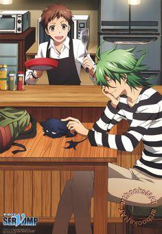 SERVAMP (サーヴァンプ)Kuro and Sakuya Watanuki get cozy while Mahiru cooks in this charming SERVAMP poster from PASH! Magazine,…