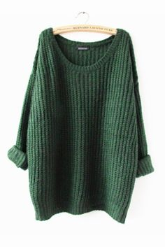Green Cosy Long Sweater #10-30 #meta-filter-color-green #meta-filter-size-os #pullovers-sweaters