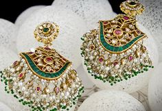 Hyderabadi earrings with Basra pearls ,emeralds,rubies and diamonds India Jewelry, Temple Jewellery, Pearl Jewelry, Jewelry Shop, Antique Jewelry, Jewelery, Jewelry Design, Fashion Jewelry, Indian Wedding Jewelry