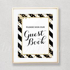 Black Stripes Guest Book Sign, Bridal Shower Decor, Wedding Guest Book Sign Glitter Gold Confetti - SKUHDG18 by hellodreamstudio on Etsy