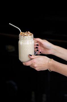 Peanut Butter Banana Milkshake with Vanilla Ice Cream and Snickers. More on thedashingrider.com #milkshake #recipe