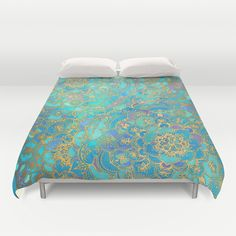 Sapphire+&+Jade+Stained+Glass+Mandalas+Duvet+Cover+by+Micklyn+-+$99.00