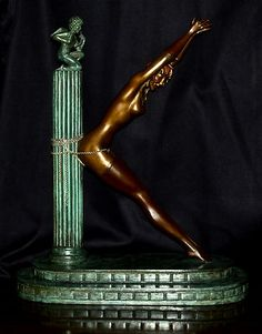 **RARE** Authentic 'Prisoner of Love' (The Letter K) Bronze Sculpture by Erte Erte Art, Romain De Tirtoff, Art Deco Artists, Letter K, Electronic Art, Prisoner, Silent Film, French Artists, Bronze Sculpture