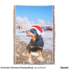 #Rottweiler #Christmas #Painting #Blanket #dog 54 x 38