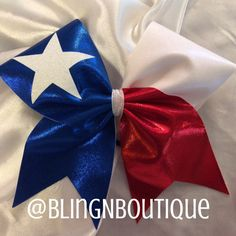 Show your Texas pride by wearing the State flag. Red, white and royal blue mystique with a white glitter 5 point star. BlingNBoutique bows are handmade to order. Unless otherwise stated in the individ