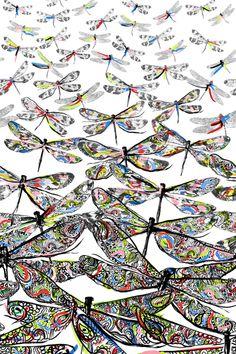 Matthew Williamson spring/summer 2014 Dragonfly Graffiti print in Rainbow. #MatthewWilliamson #SS14 #Prints