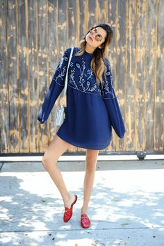 1ebbc3d2fd Blue Parker Sadie Dress + Red Gucci Loafer Sliders_4 Sadies Dress, M Color,  Under
