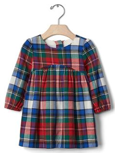 Gap Plaid Flannel Shirred Dress (with red shoes & fur vest)