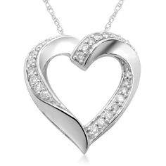 $992 : 10k White Gold Diamond Heart Slider Pendant Necklace (1/2 cttw, I-J Color, I2-I3 Clarity), 18""