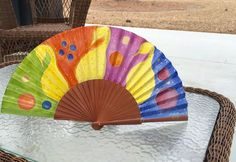 Colorful handpainted spanish hand fan, unique accessory for her :) by MonBrise on Etsy