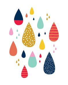 """Colorful raindrops 8""""x10"""" print by Let's Die Friends drips."""