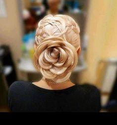 """Soooo cool """"rose"""" bun hair"""