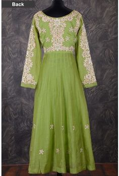 Anarkali Salwar-Light Olive Green-Resham Thread Work-SL7573