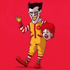 As you browse the gallery, you should get more than a handful of chuckles, and you might lose a little bit of your childhood innocence, but it's totally worth it. This might make you think twice about ever eating at a McDonald's again. #inked #Inkedmag #art #graphic #ronald #mcdonald #joker #icons #unmasked