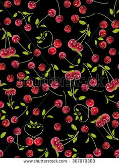 Seamless Fabric Cherry Pattern - stock photo