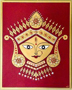 Acrylic on canvas of Goddess Durga Durga Maa, Durga Goddess, Tanjore Painting, Kolam Designs, Indian Gods, Figure Painting, Artist Art, Indian Jewelry, Art Gallery