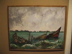 TABLEAU/ MARINE/ HUILE SUR TOILE/  Cimetière de bateaux en Baie de Somme