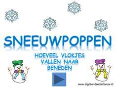 Digibordles: Sneeuwpoppen: hoeveel vlokjes vallen naar beneden. digibordonderbouw.nl