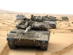 Column of Merkava Mk 3D tanks