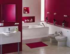 Feng Shui Bathroom: Fiery reds balance too much water energy in bathrooms