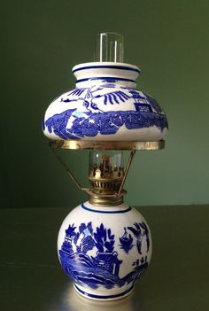 Vintage Blue Willow Mini Miniature Oil Lamp Porcelain China ...