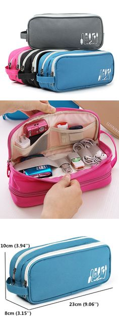 US$10.89 Women Nylon Digital Storage Bag Toiletry Bag Waterproof Cosmetic Bag Travel Bag