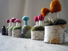 felted toadstools by Lisa Jordan