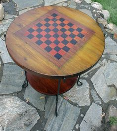 Checker board game table of wood multicolor by BethCovertStudio