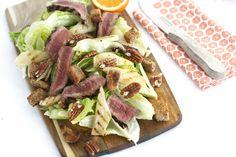 16x gezonde recepten die mannen ook lekker vinden (oa biefstuk-gegrilde peer salade, gezonde kapsalon, peultjessalade met biefstuk, etc)