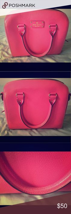 Kate Spade Hot Pink Handbag In good condition besides some wear and tear as pictured on handles and inside of bag. Comes with strap to make into crossbody bag. kate spade Bags Satchels