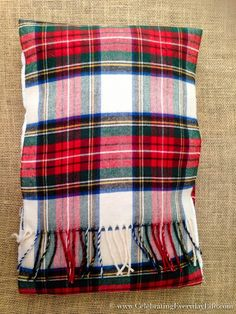 How To Make A Pillow Case From A Scarf, Plaid Scarf Pillow Case DIY, Make a pillow from a scarf, Christmas Pillow DIY, Celebrating Everyday Life with Jennifer Carroll Sewing Pillows, Diy Pillows, Pillow Ideas, No Sew Pillow Covers, Pillow Cases, Christmas Pillow, Christmas Decor, Christmas Gifts, Xmas