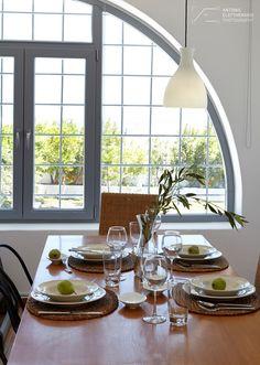 Dome, Window, Light, Sun, Wooden Table, Dinning Room, Greece