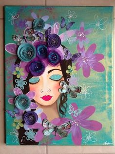 Butterfly Dreaming. Mixed Media Canvas~ Wendy Schultz ~ Mixed Media.