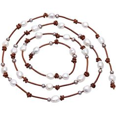 Women's Long Cultured Freshwater Pearl Wrap Necklace Bracelet on Leather Cord Knotted Jewelry 47'' >>> Continue to the product at the image link.