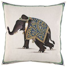 """20"""" x 20"""" (Pillow insert sold separately) Painted by hand. Hidden zipper closure. Made in India 55% Linen/45% Cotton"""