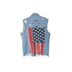 Back US Flag Printed Sleeveless Lapel Demin Shirt ($50) ❤ liked on Polyvore