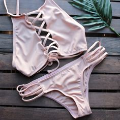 venice high neck crop bikini in blush
