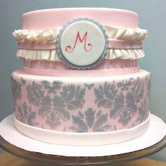 Pink/grey Damask baby shower cake  www.thefrostedcak...
