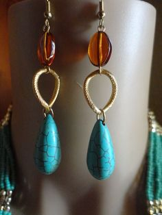 Handmade Tear Drop Turquoise and Brown Glass High Quality Gold Plate Earrings  #Handmade #Beaded