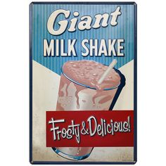 Giant Milkshake Metal Sign Vintage Diner Ice Cream Parlor Decor 12 x 16 Diner Restaurant, Restaurant Signs, Frosty Ice Cream, Ice Cream Images, Ice Cream Sign, Diner Sign, Old Fashioned Ice Cream, Diner Decor, Vintage Diner