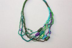 Fiber art statement necklace knitted jewelry with by rRradionica, $93.00